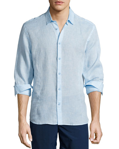 Morton Long-Sleeve Linen Shirt, Sky Blue