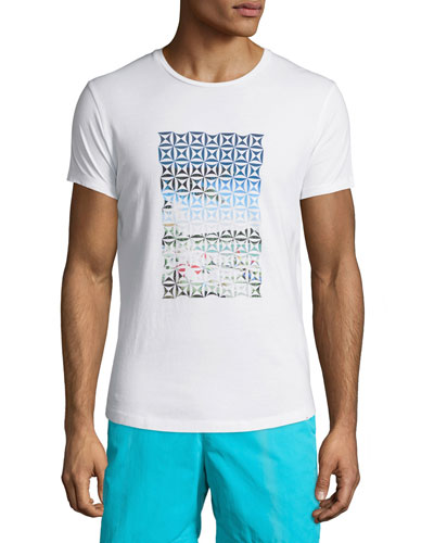 Waikiki-Print Short-Sleeve T-Shirt, White Pattern