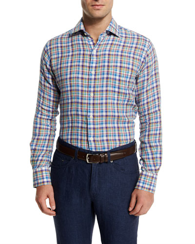 Plaid Long-Sleeve Linen Sport Shirt, Blue