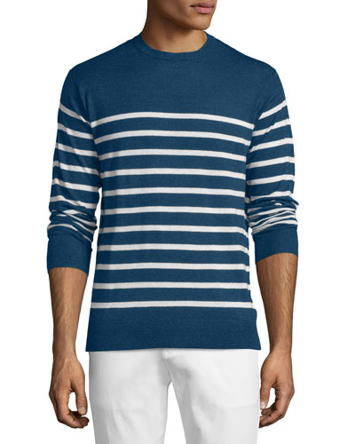 Wool-Linen Striped Long-Sleeve Sweater, Navy