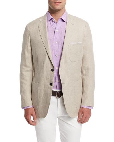 Two-Button Linen Soft Coat, Khaki
