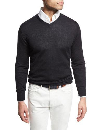 Merino/Silk V-Neck Pullover Sweater, Dark Blue