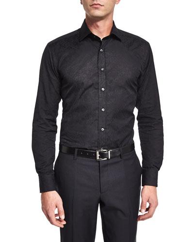 Tonal-Jacquard Long-Sleeve Sport Shirt, Black