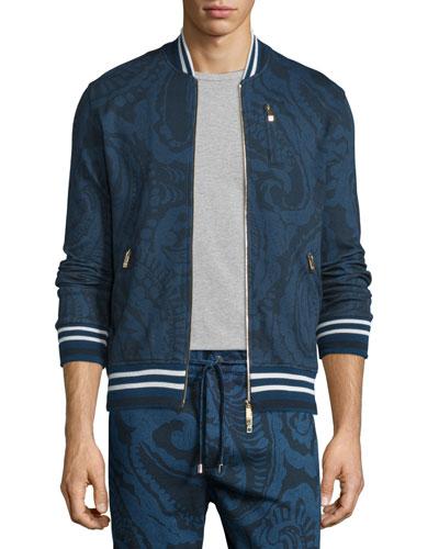 Tonal Paisley-Print Zip Track Jacket, Navy