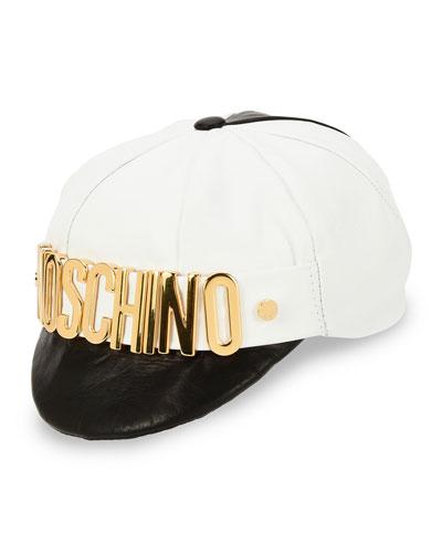 Golden-Logo Half-Brim Hat, Black/White
