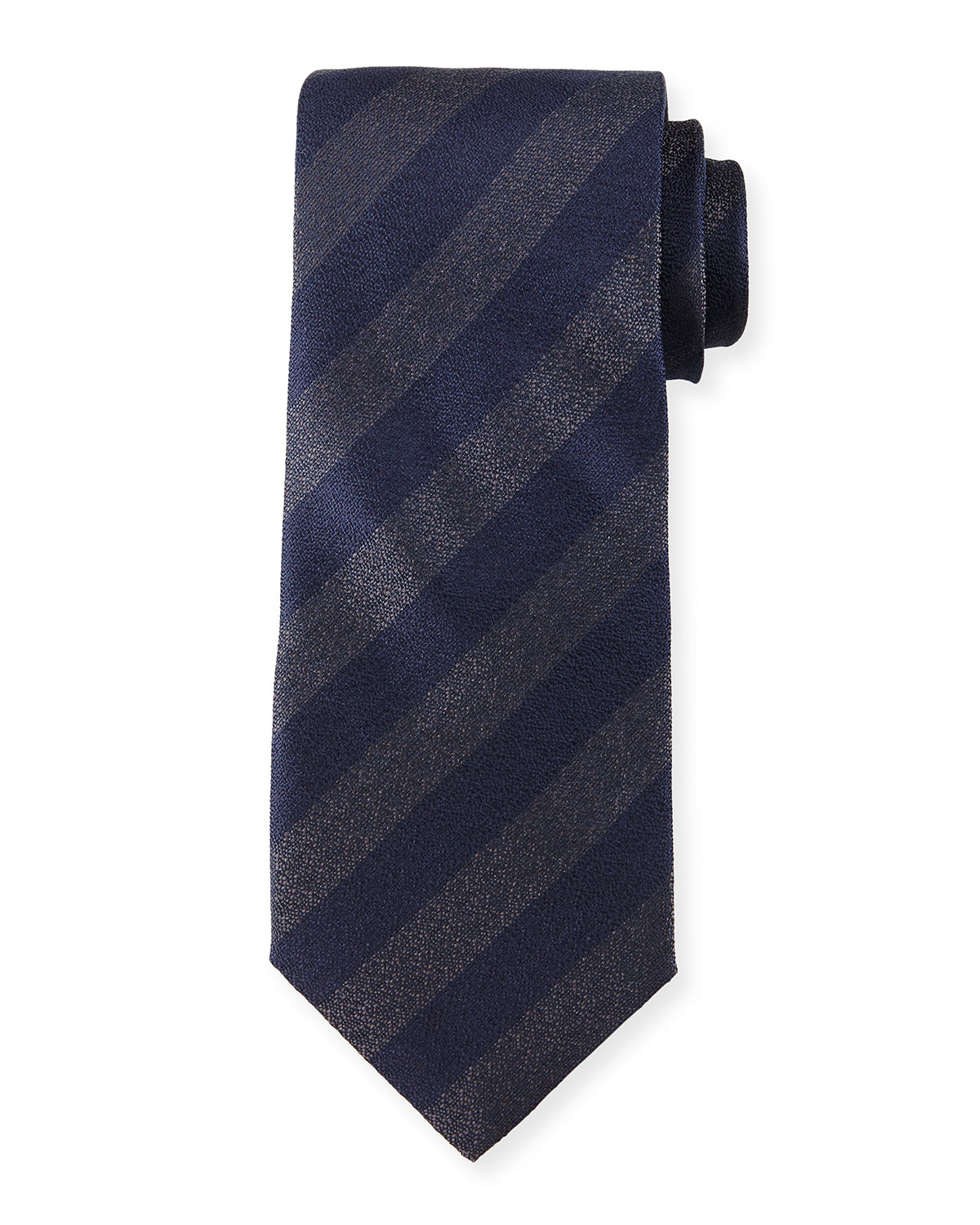 Iridescent Striped Silk Tie, Navy