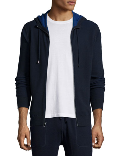 Waffle-Knit Hooded Zip Sweater, Navy
