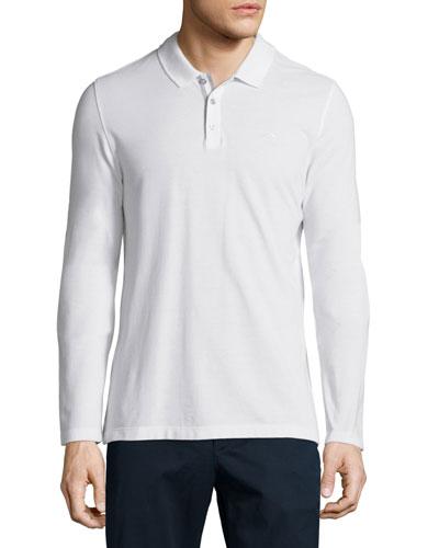 Long-Sleeve Pique Polo Shirt, White