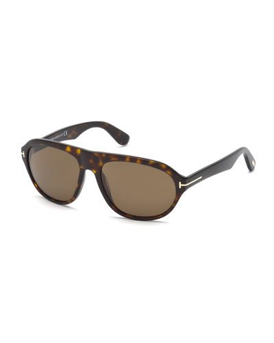Ivan Shiny Havana Acetate Sunglasses, Tortoise