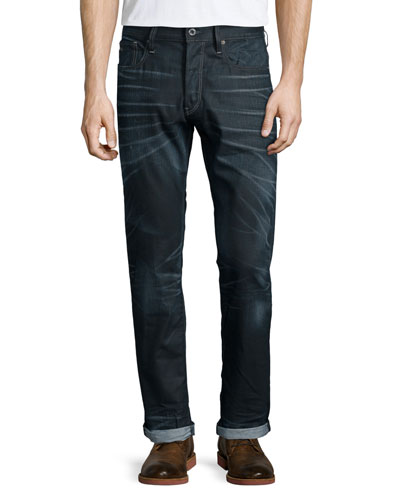 Tapered-Leg Condor Denim Jeans, Dark Blue