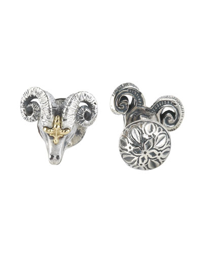 Sterling Silver & 18K Gold Ram Cuff Links