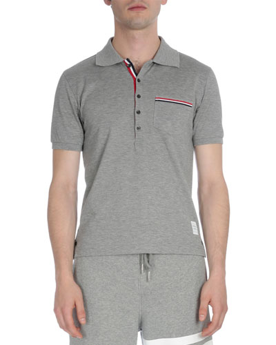 Stripe-Trim Pique Polo Shirt, Light Gray