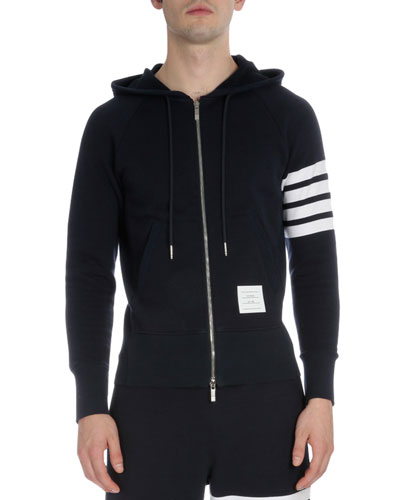 Zip-Up Hoodie with Striped-Sleeve, Navy