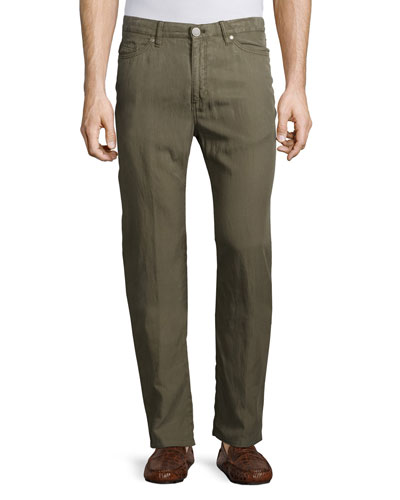 Five-Pocket Twill Pants, Dark Gray