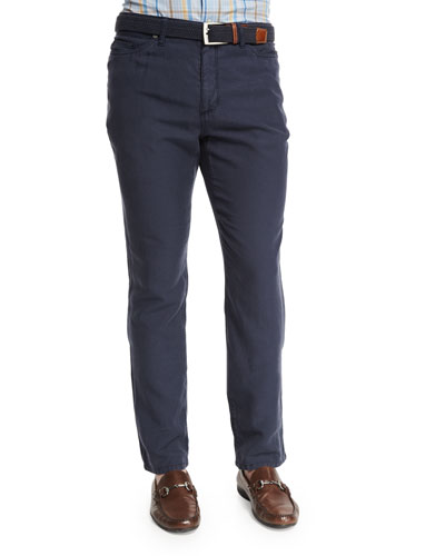 Five-Pocket Twill Pants, Navy