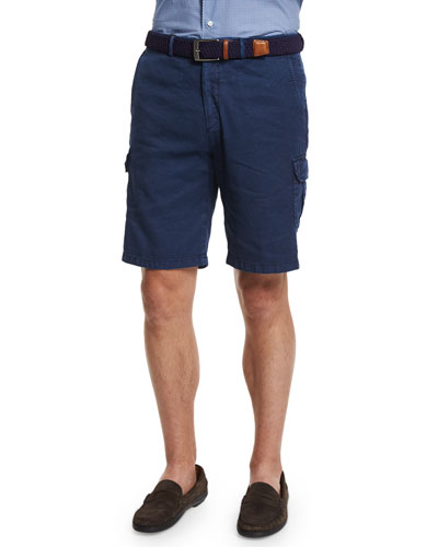 Garment-Dyed Cargo Shorts, Navy