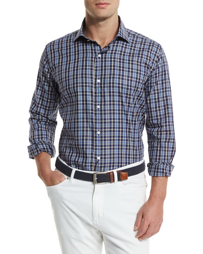 Newport Plaid Long-Sleeve Sport Shirt, Blue Plaid