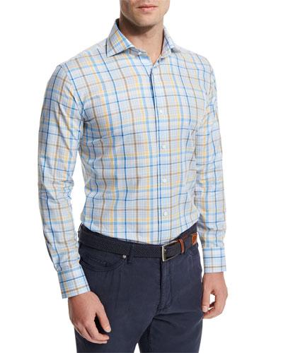 Cape Plaid Long-Sleeve Sport Shirt, Light Blue