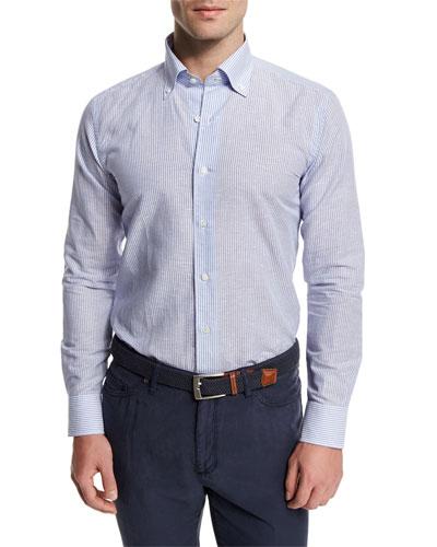 Chambray Striped Long-Sleeve Sport Shirt, Blue Stripes