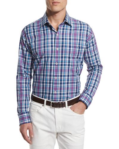 Multi-Plaid Long-Sleeve Sport Shirt, Blue