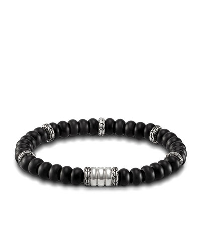 Batu Bedeg Men's Beaded Bracelet, Charcoal