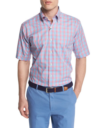 Check-Windowpane Short-Sleeve Woven Shirt, Pink/Blue