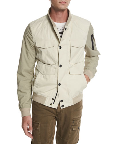 Ashvale Nylon-Cotton Bicolor Jacket, Natural White