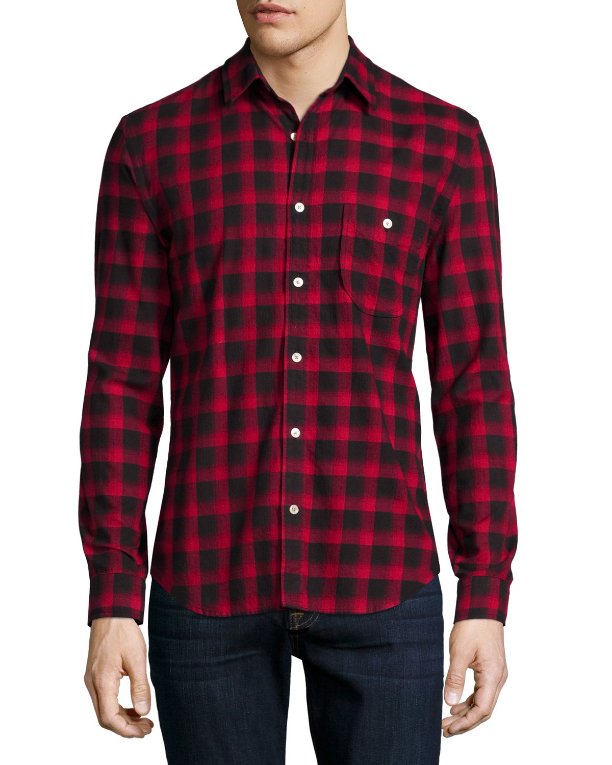 Brushed Flannel Long-Sleeve Shirt, Crimson