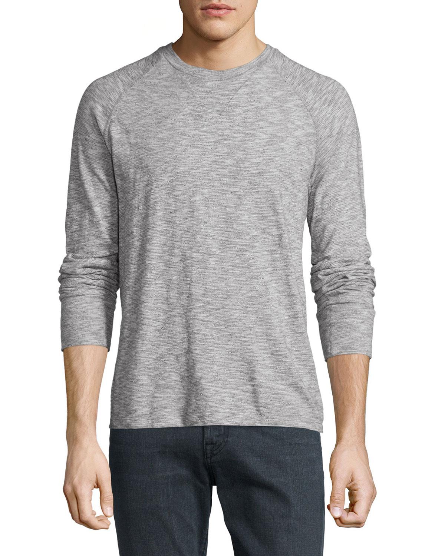 Crewneck Raglan-Sleeve Sweatshirt, Ecru