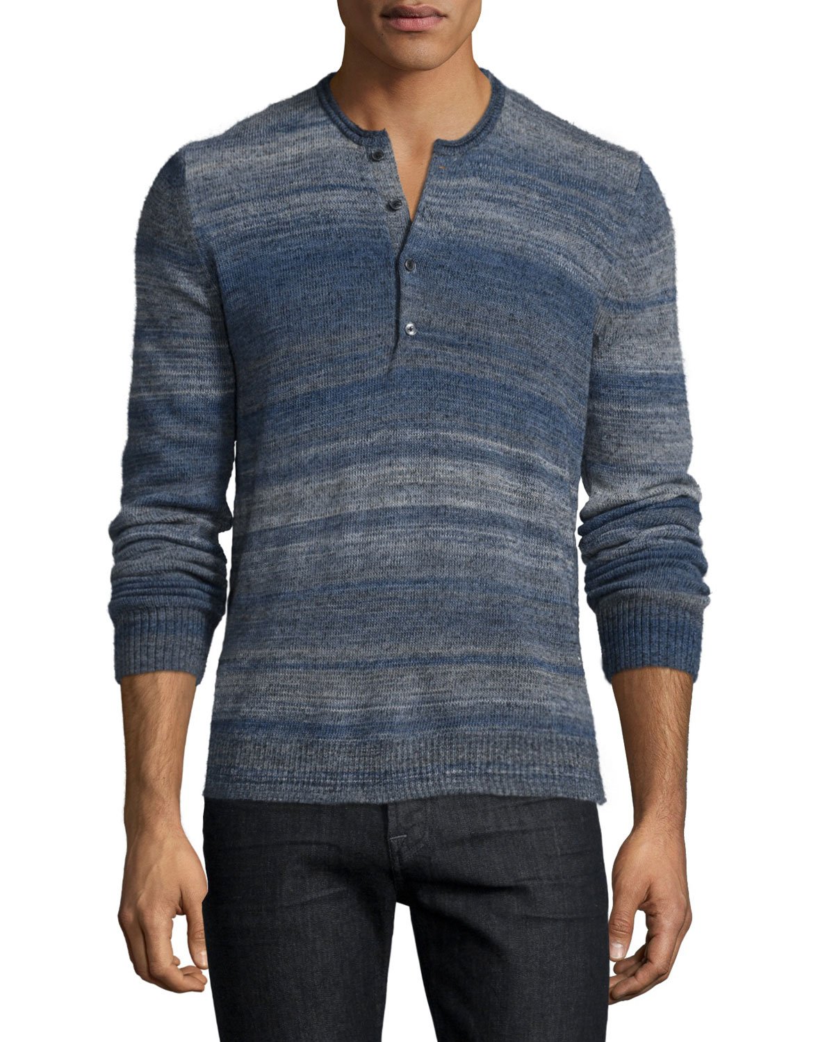 Space-Dye Long-Sleeve Henley Shirt, Navy