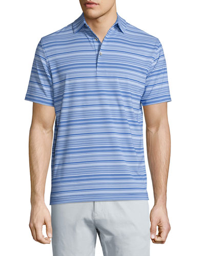 Javelin Striped Short-Sleeve Jersey Polo Shirt, Tide