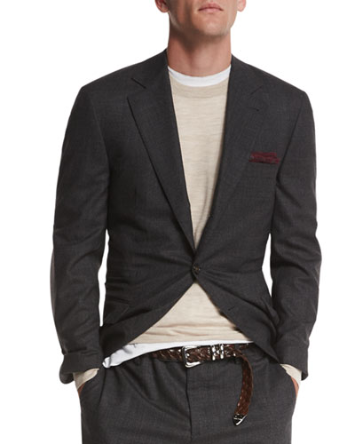 Textured Two-Button Wool Blazer, Charcoal