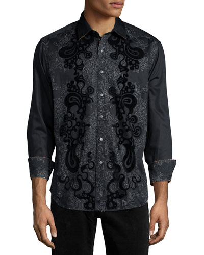 Canary Island Printed Long-Sleeve Sport Shirt, Black