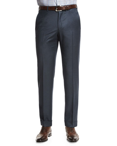 Trofeo Flat-Front Trousers, Blue