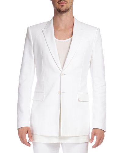 Herringbone Peak-Lapel Two-Button Jacket, White