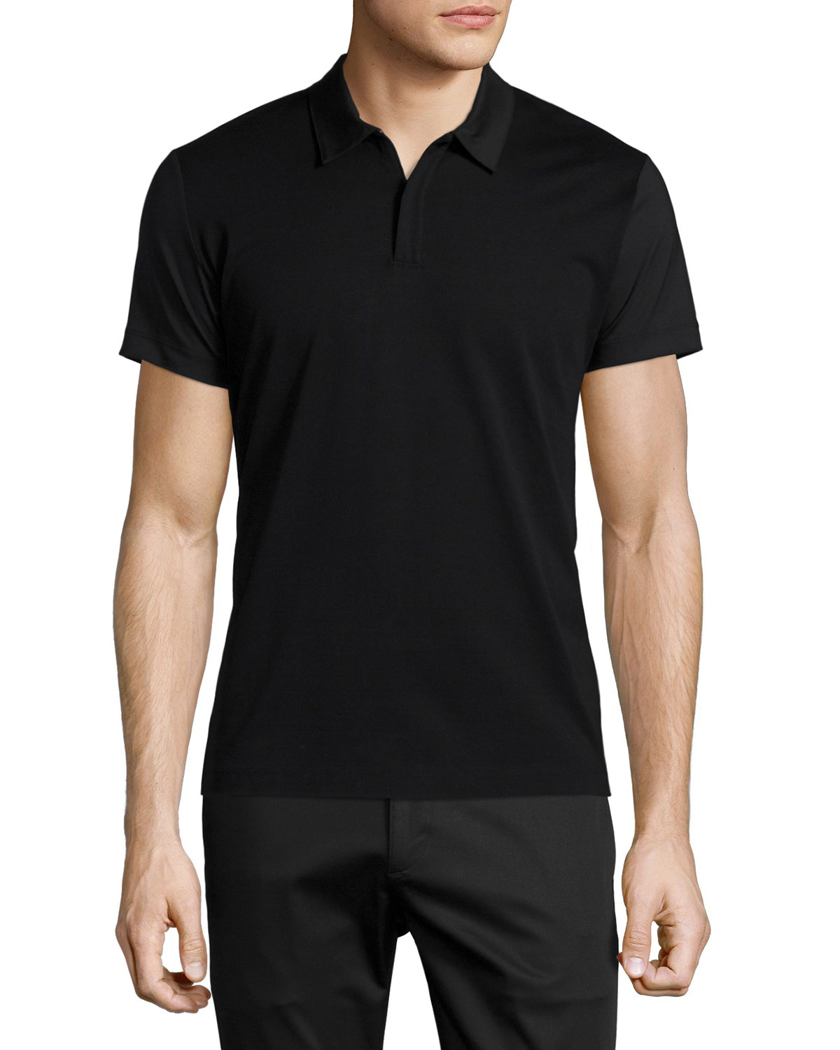 Boyd Mixed-Media Zip Polo Shirt, Black