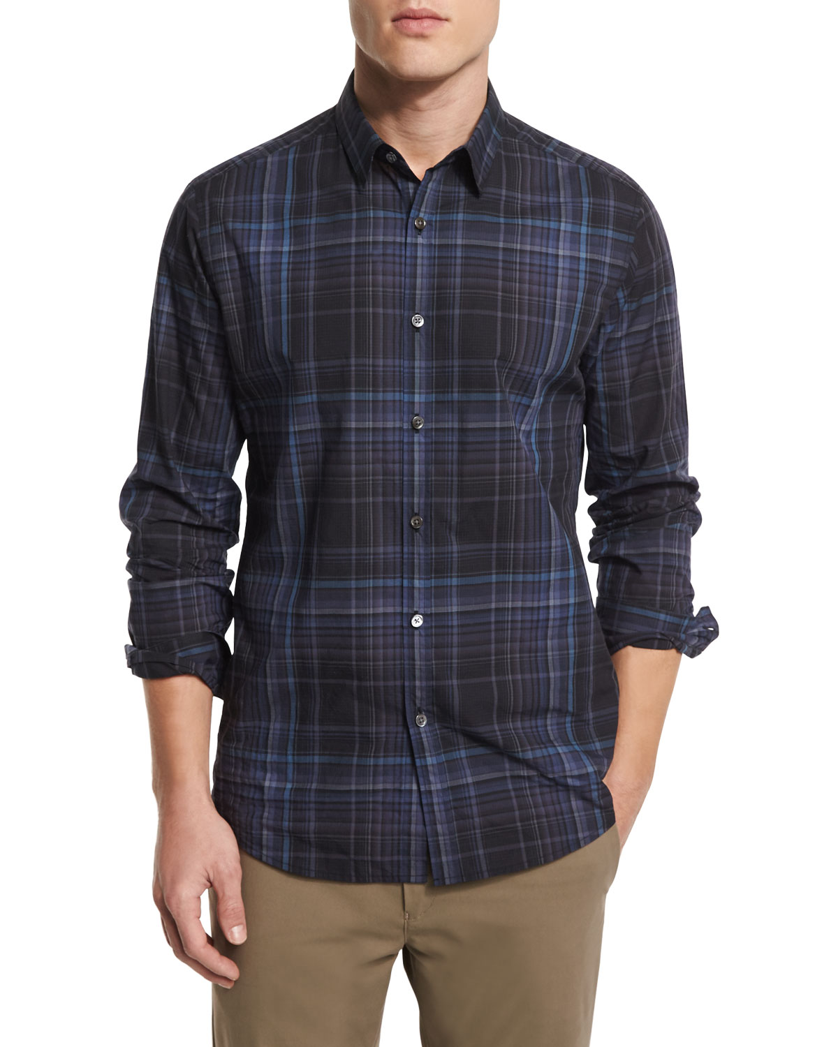 Zack PS Multi-Plaid Sport Shirt, Inkwell Multi