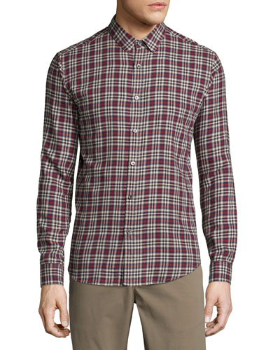 Zack Plaid Long-Sleeve Sport Shirt, Pomegranate Multi