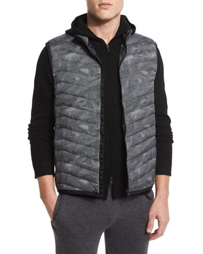 Corick Printed Lightweight Puffer Vest, Black Multi