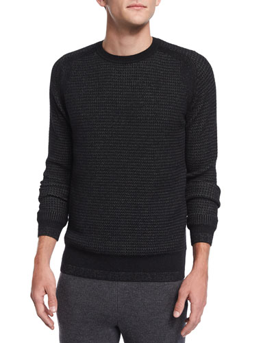 Aster Textured Crewneck Sweater, Black