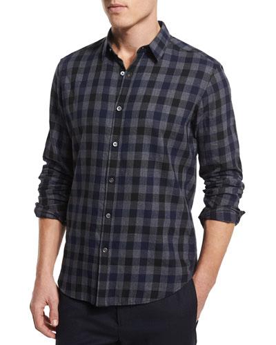 Zack PS Check Long-Sleeve Sport Shirt, New Navy Multi