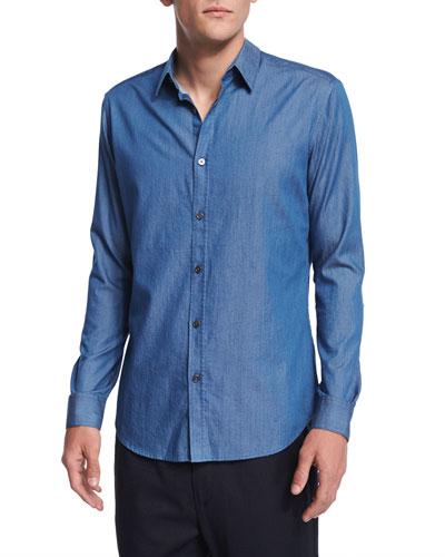 Zack Chambray Button-Down Shirt, Blue Indigo