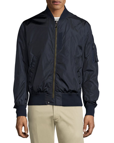 Timothe Zip-Up Nylon Bomber Jacket, Navy