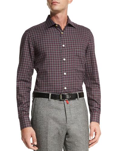 Check Dress Shirt, Gray/Red