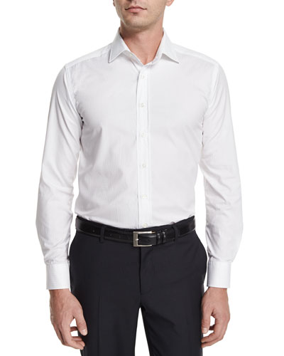 Tonal Geo-Print Jacquard Sport Shirt, White