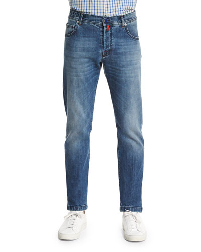 Slim-Fit Dark-Wash Denim Jeans