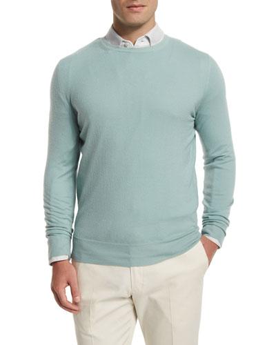 Baby Cashmere Crewneck Sweater, Light Green