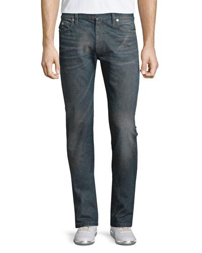 Resin-Coated Slim-Fit Denim Jeans, Blue