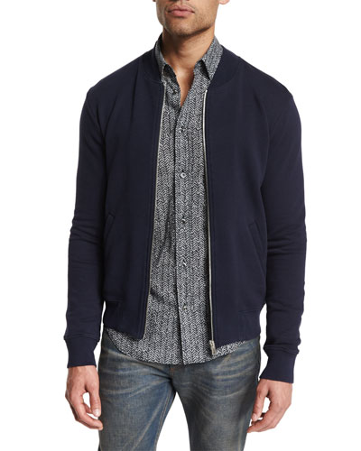 Zip-Up Knit Bomber Jacket with Elbow Patches, Navy