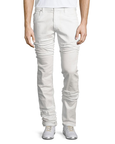 Five-Pocket Straight-Leg Stretch Jeans, White